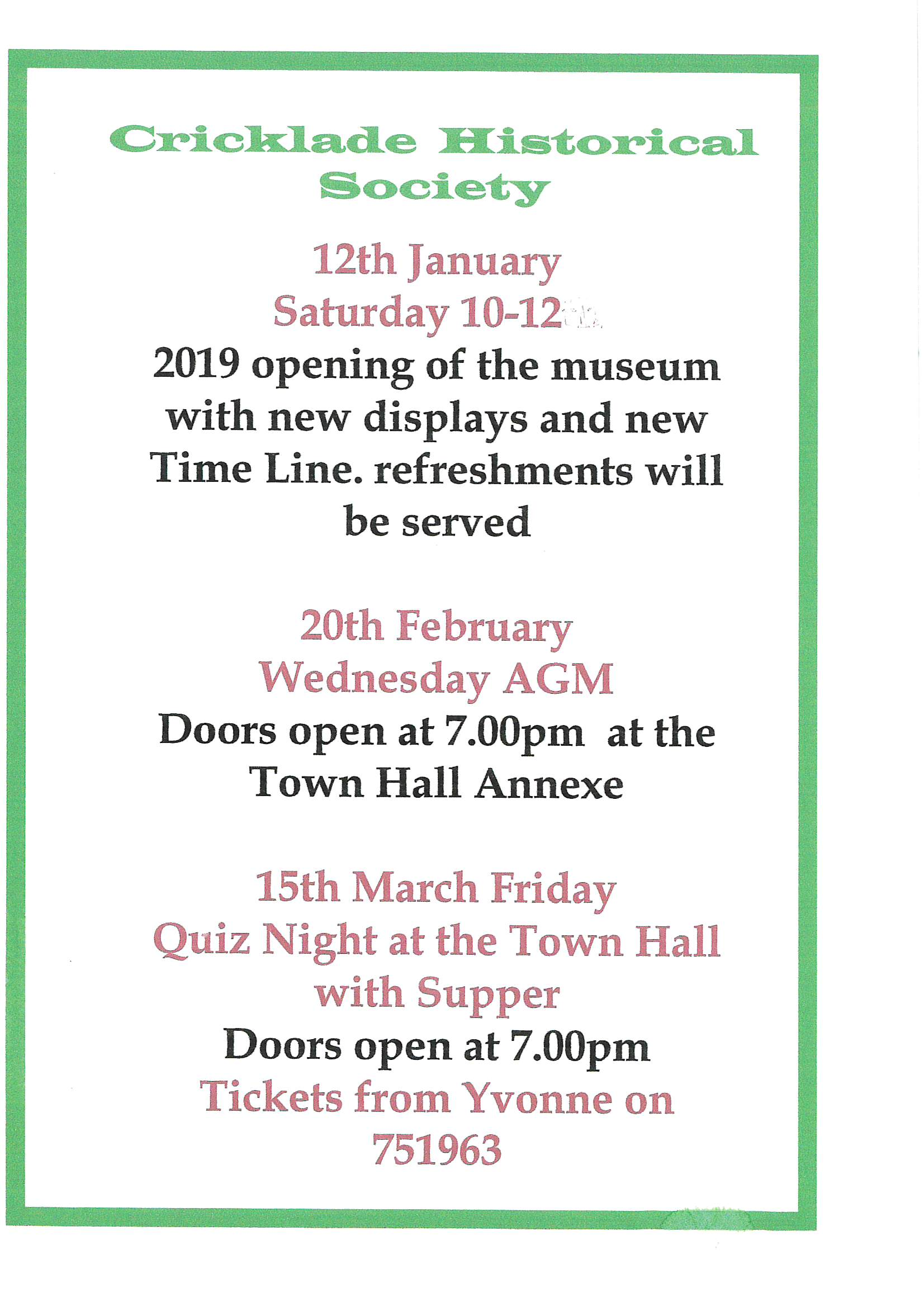 Historical Society Jan Feb Mar 2019